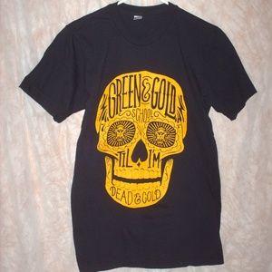 Green & Gold W&M 2017 skull T-shirt - size Small